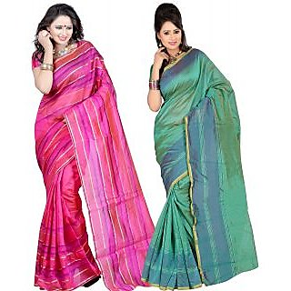 Carah Exclusive Pack Of 2 Cotton Silk Saree CRH-N281