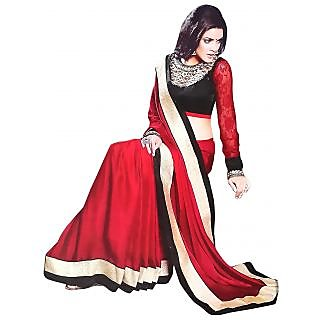 Exclusive Combination Of Red & Black Chiffon Saree