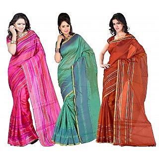 Carah Exclusive Pack Of 3 Cotton Silk Saree CRH-N285
