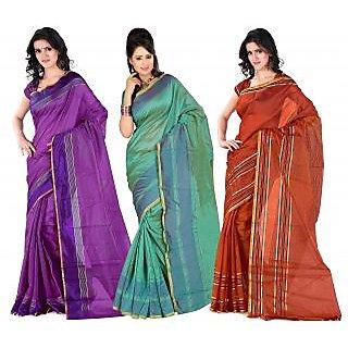 Carah Exclusive Pack Of 3 Cotton Silk Saree CRH-N286