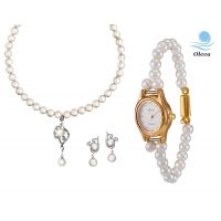 Oleva Combo Set Of 2 Ladies White Pearl Pendant Set With Ladies Pearl Watch OHD 72