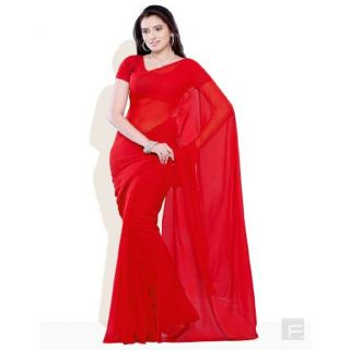 Red Color Georgette Pattern Plain Full Saree With Blouse Piece