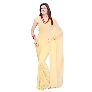 Chiku Color Georgette Pattern Designer Plain Full Saree With Blouse Piece