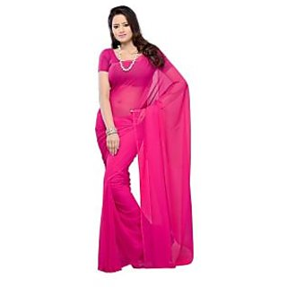 Pink Color Georgette Pattern Designer Plain Full Saree With Blouse Piece
