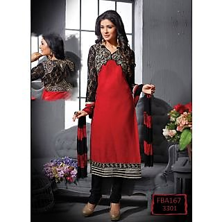 New Latest Fancy Designer Red & Black Embroidery Straight Cut Suits
