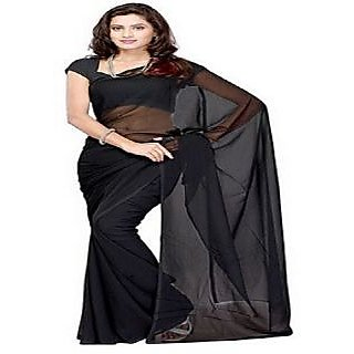 Black Color Georgette Designer Plain Full Saree With Blouse Piece