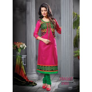 New Latest Fancy Designer Pink & Green Embroidery Straight Cut Suits-Free Size