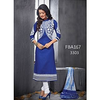New Latest Fancy Designer Blue & White Embroidery Straight Cut Suits-Free Size