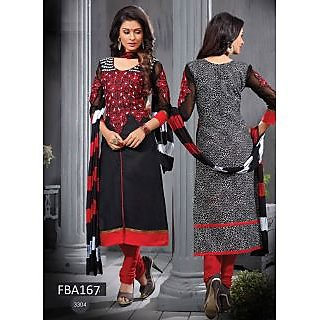 New Latest Fancy Designer Red & Black Embroidery Straight Cut Suits-Free Size