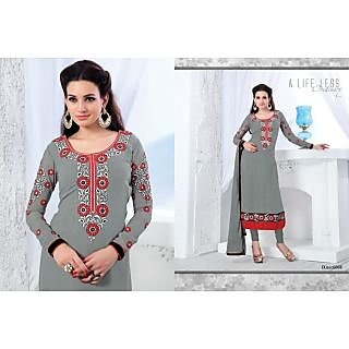 Stylish Designer Semi Stitched GREY Chudidar Suit