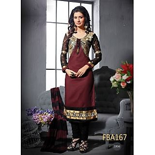 New Latest Fancy Designer Brown & Black Embroidery Straight Cut Suits-Free Size