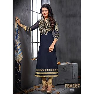 New Latest Fancy Designer Black & Gold Embroidery Straight Cut Suits-Free Size