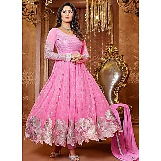 New Designer Pink And Silver Anarkali Suit Of Sangeeta Ghosh