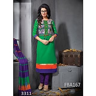 New Latest Fancy Designer Green Cotton Embroidery Straight Cut Suits-Free Size