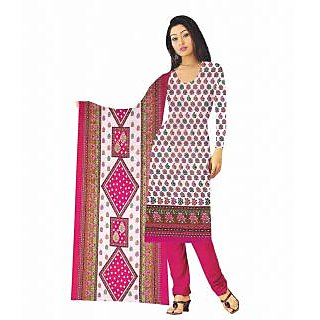 Exclusive Designer Pink White Banarasi Printed Dress Material