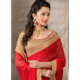Shop Avenue Red Bhagalpuri Silk Zari Saree (WGS05036)