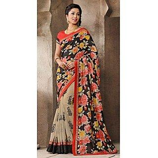 Shop Avenue Black Georgette Zari Saree (WGS05037)