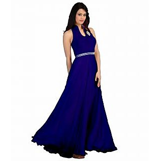 FabPandora Exclusive Fancy Designer Blue Velvet & Georgette Gown