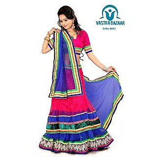 Vastrabazaar 9001b Pink & Blue  Embroidered Net 3pc Lehenga Choli