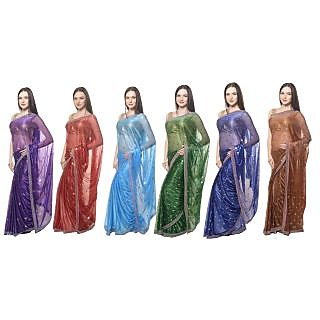 Paradise Stylish Foil Print Satin Silk Saree Pack Of 6
