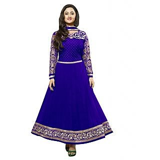 FabPandora Exclusive Fancy Blue And Golden Designer Anarkali Georgette Dress Mat