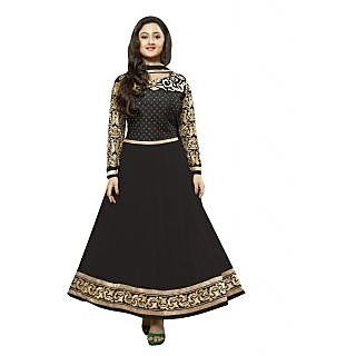 FabPandora Exclusive Fancy Black And Golden Designer Anarkali Georgette Dress