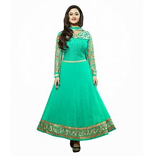 FabPandora Exclusive Fancy Light Green And Golden Designer Anarkali Georgette Dr