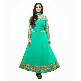 FabPandora Exclusive Fancy Light Green And Golden Designer Anarkali Georgette Dr