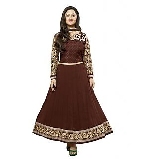 FabPandora Exclusive Fancy Maroon And Golden Designer Anarkali Georgette Dress M