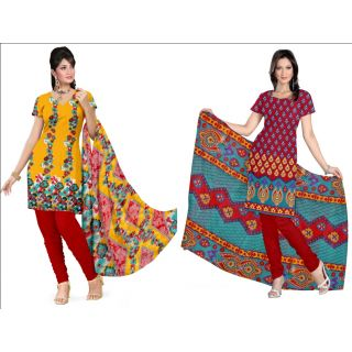 Pack Of 2 Designer Printed Dress Material Combo With Dupatta