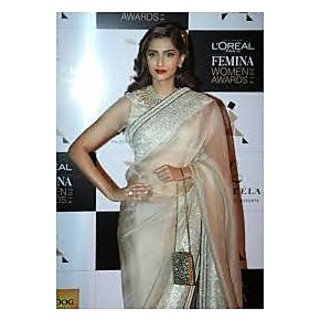Richlady Fashion Sonam Kapoor Georgette Border Work Cream Saree