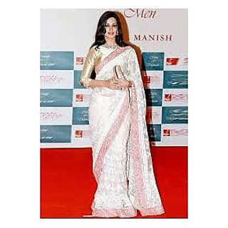 Richlady Fashion Sonali Bendre Net Machine Work White Saree