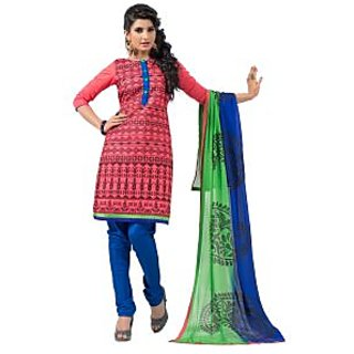 Fabdeal Pink Colored Chanderi Cotton Embroidered Dress Material