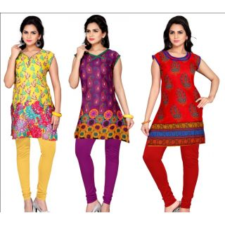 Paradise Stylish Printed Kurti Pack Of 3