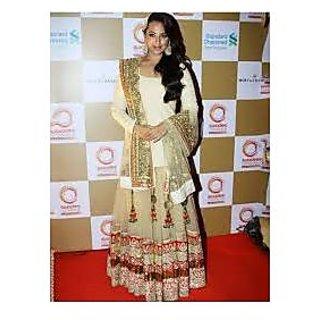 Richlady Fashion Sonakshi Sinha Net Zari Work Beige Semi Stitched Lehnga Choli