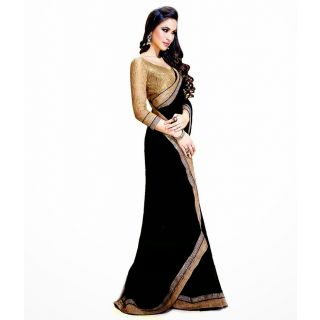 FabPandora Women's Black Semi Chiffon Saree With Blouse Piece