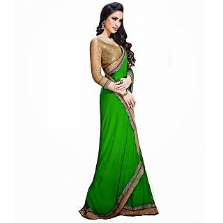 FabPandora Women's Green Semi Chiffon Saree With Blouse Piece