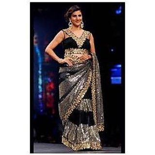Richlady Fashion Parizaad Kolah Net Sequence Work Black Saree