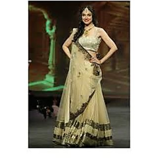 Richlady Fashion Divya Khosla Net Border Work Beige Lehnga Choli