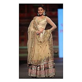 Richlady Fashion Gauhar Khan Net Sequins Work Cream Lehnga Choli