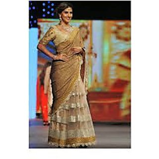 Richlady Fashion Parizaad Kolah Jute Silk Lace Work Beige & Golden Saree