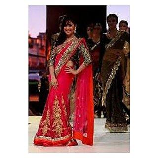 Richlady Fashion Yami Gautam Net Zari Work Pink Saree