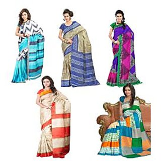 Inddus Exclusive Combo Of 5 Printed Fashion Sarees - 75084480