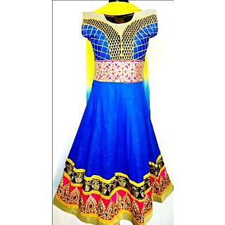 Blue Designer Cotton Anarkali Suit With Embroidery- KF 5041