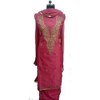 Women's Grace Pink Chanderi Dress Material