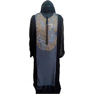 Women's Grace Black And Grey Georgette Dress Material