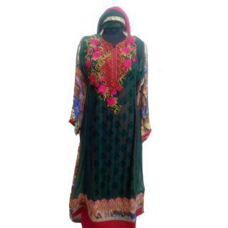 Women's Grace Green Georgette Dress Material