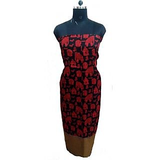 Women's Grace Black And Red Silk Dress Material