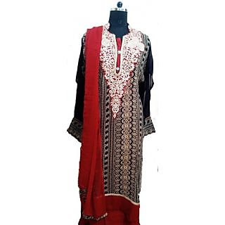 Women's Grace Black And Red Georgette Dress Material