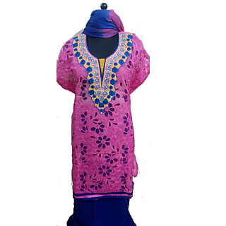 Women's Grace Blue And Pink Chanderi Dress Material